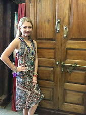 Womens Boho Style Dress Strappy Printed Cotton Blend Summer Gypsy Dresses XS
