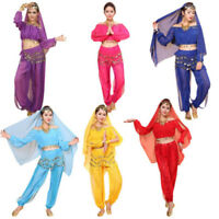 Women's Belly Dance Costumes Set Indian Dancing Dress Clothes Top Pants` EB