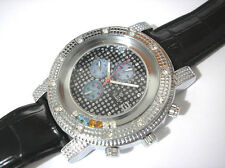 Iced Out Bling Bling Hip Hop Big Case Leather Band Men's Watch
