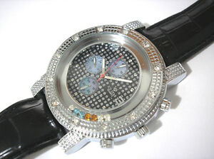 Silver Tone Metal Big Case Leather Band Men's Watch with Crystals