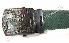 OFFICIAL Girl Scout Webbed Belt 1928 Gunmetal Buckle Display STRETCHED Trefoil