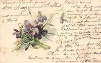 CPA Fantaisie - Bouquet de fleurs mauves