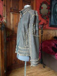 Gothic, Steampunk, Boho. Vintage Style Brown Bomber Jacket..