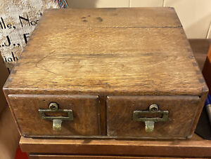 """Vintage Wooden 2 Drawer Library Card Catalog Box - Index File Cabinet 13.5x14x5"""""""