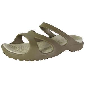 Crocs Womens Meleen Strappy Slip On Sandal Shoes, Khaki/Stucco, US 5