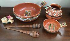 Set Of Mexican Folk Art Handmade Clay Bowl Pots Terra Cotta Pottery