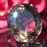 14k yellow gold size 8.5 ring large 22.55ct smoky quartz 1920's antique 8.0gr