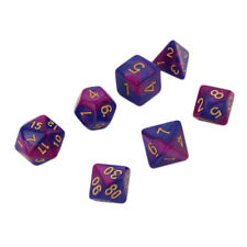 7pc BLUE Marble dice Gold Numbers set D&D D20 RPG TSR DnD