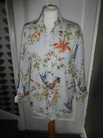 RIVER ISLAND UK 10 EU 36 PRETTY BIRD/FLORAL PRINT COTTON BLOUSE/SHIRT