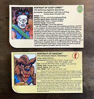 Casey Jones & Rahzar Vintage TMNT Ninja Turtles Figure File Bio Card Lot 90s