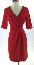 New Directions Dress 10 L red jersey knit sheath 3/4 sleeve career office