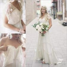 Retro Vintage Lace Chiffon Beach Boho Wedding Dresses V-Neck Bridal Gowns Custom