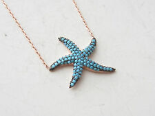 SEA STAR TURKISH ROSE GOLD PLT 925K STERLING SILVER TURQUOISE NECKLACE