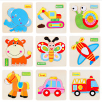 Cartoon Animals Wooden Jigsaw Children Kids Baby Learning Educational Puzzle Toy
