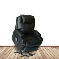 Electric Power Recliner Lift Chair Heated Massage Sofa W/ Remote Control Black