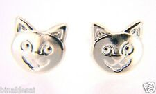 Kids Girls 925 Sterling Silver Smiley Cat Face Studs Earrings X'mas GIFT BOX NEW