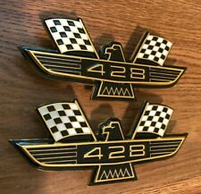 Ford 428 Crossed Flag Fender Emblems Gold Mustang Fairlane Galaxie Falcon 1968 +