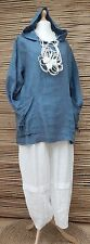 """LAGENLOOK BEAUTIFUL 100% LINEN HOODED 2 LARGE POCKETS TUNIC*Blue*BUST UP TO 48"""""""