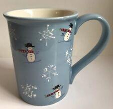 Sonoma Coffee Mug Snowman Blue Winter Christmas
