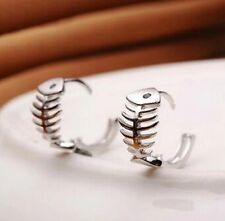 925 STERLING SILVER FISH BONE SMALL HOOP EARRINGS