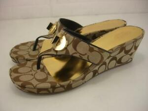 Women's 11 B M Coach Noble Signature C Jacquard Thong Sandals Wedge Heels Brown