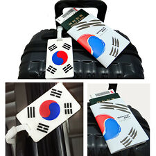 Travel Luggage Bag Tag Name Address Korean 태극기 Baggage Tags + Passport Cases SET