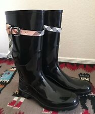 BURBERRY Women's Size EU 41 Wellies Check Belt Rain Boots Black Rare Buckle