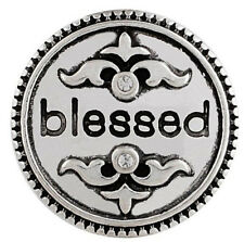 Silver Blessed Rhinestone Religious 20mm Snap Charm For Ginger Snaps Jewelry