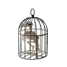 Crazy Bonez Skeleton Crow Raven in Cage Bird Halloween Prop Decoration New