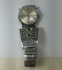 Vintage Hopi Sterling Silver Man in the Maze Watch Harold Lomayaktewa tips