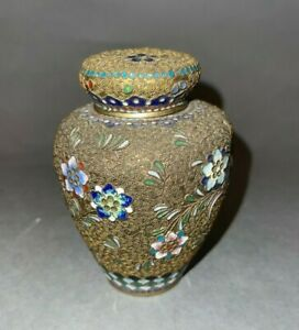 Old Chinese Brass Tea Caddy Small Ginger Jar w Cloisonne Floral Motifs as is
