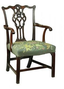 SWC-Chippendale Armchair with Elaborate Splat & Icicle Carving, England, c.1770