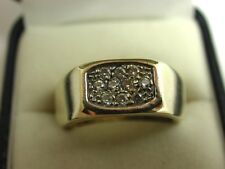 Large Heavy Solid 9ct Gold Hallmarked Multiple White Stone Hexagonal Gents Ring