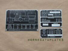 M100 1/4 TON TRAILER DATA PLATES ZINC DUNBAR KAPPLE INC. ID JEEP M38 M38A1 M151