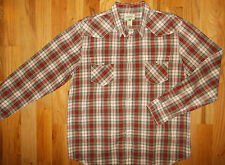 Western Cowboy Shirt XXL Mens American Rag Pearl Snaps Brown Red White 2XL MS126