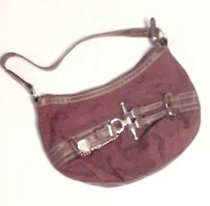 "Small 10"" Chaps Ralph Lauren Purse Handbag Pocketbook Maroon Zippers Pockets"