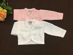 Newborn-24 Month White/Pink Baby girl bolero cardigan bow knitted jacket shrug