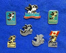 Collection of 7 Different Orca Killer Whale Dolphin Klee Wyck Mascot Lapel Pins