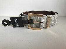 NEW! MICHAEL KORS MK VANILLA IVORY WHITE GOLD BUCKLE LEATHER BELT XL EXTRA LARGE