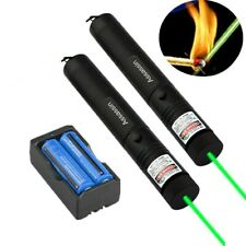 2x Rechargeable Assassin Green Laser Pointer Pen 1Mw 532nm Single Beam+Battery