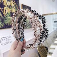Bows Raw Beaded Flower Crown Women Hair Accessories Peal Headbands Hairbands