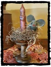Primitive` Handmade` **Mouse on Prim Spool Candle Holder` With LED Timer Candle
