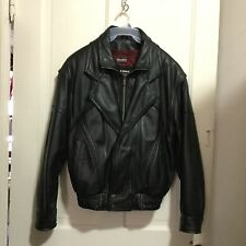 WILSON BLACK LEATHER JACKET W/ LINER - MOTORCYCLE COAT ( SIZE SMALL ) NICE