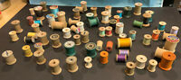 WOODEN SEWING SPOOLS LOT of 69 w/Thread Cotton - Various Sizes & Colors COATS