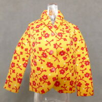 Barbie 1960s Fashion Jacket TRAVEL TOGEHTERS Yellow Red Floral Cotton 1967 #1688