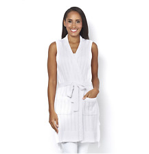 Isaac Mizrahi Live Pointelle Stitch Belted Sweater Vest White XL TD077 MM 17