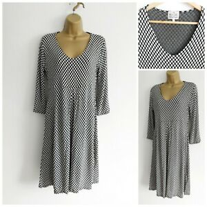 Masai Black And White Spotty Dress Size Small Side Pockets Fit and Flare