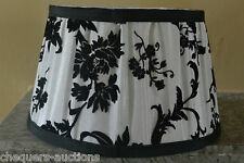 White Lampshade with Black Velvet Flock Pattern