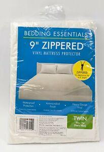 Bedding Essentials 9 inch Zippered Vinyl Mattress Protector White Twin 39x75 in