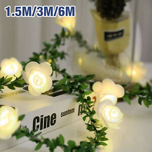1.5M/3M/6M LED Rose Flower Fairy String Battery Lights Indoor Garden Party Decor
